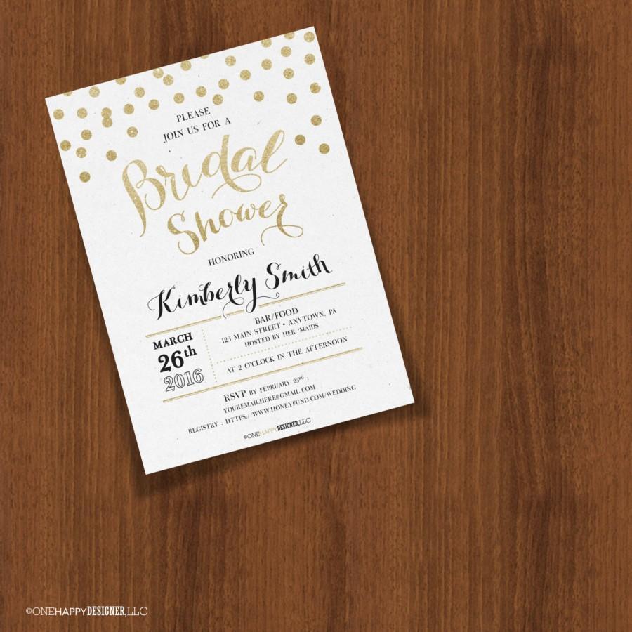 Mariage - Gold Glitter Texture Confetti Dots Customizable Wedding Bridal Shower Invites