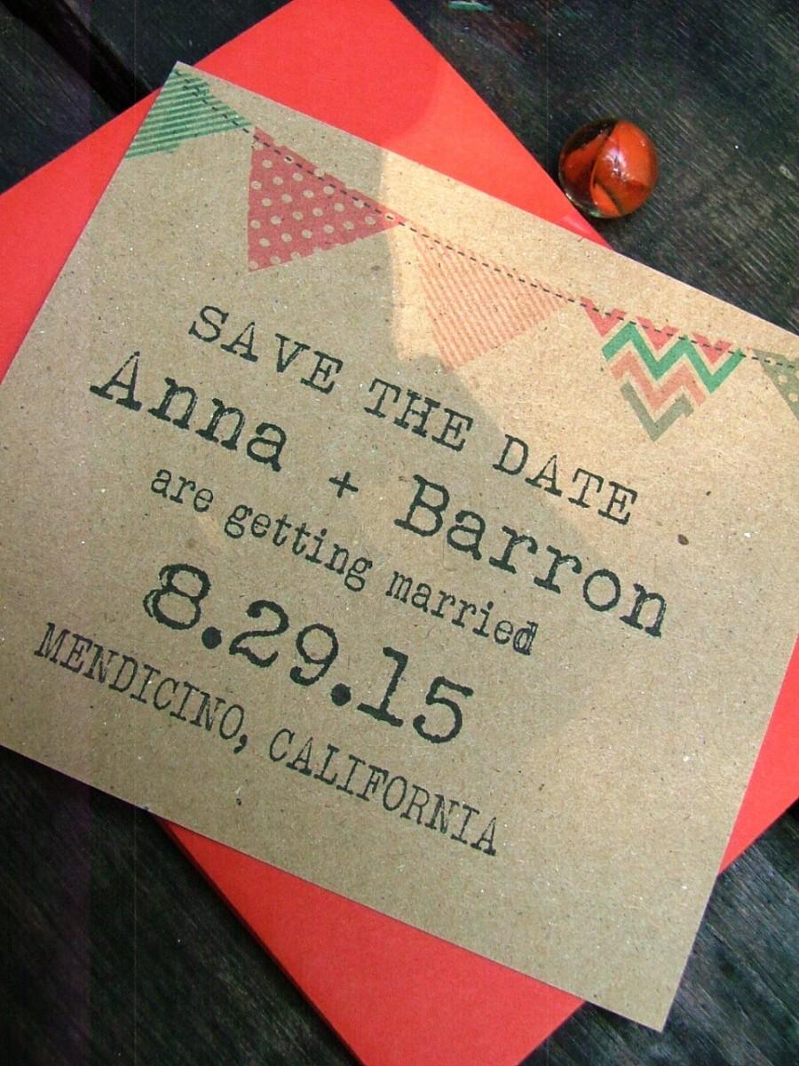 زفاف - Printable save the date cards, coral, mint, gray, banner and typewriter font