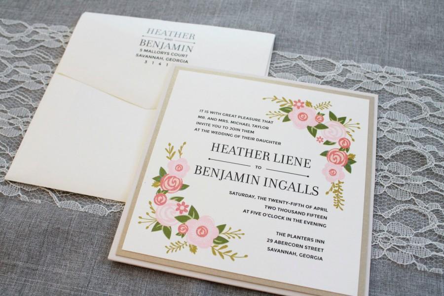 زفاف - Rustic Wedding Invitation, Pocket Wedding Invitation, Brown Wedding Invitation, Floral Invitation, Country Wedding, Heather & Benjamin