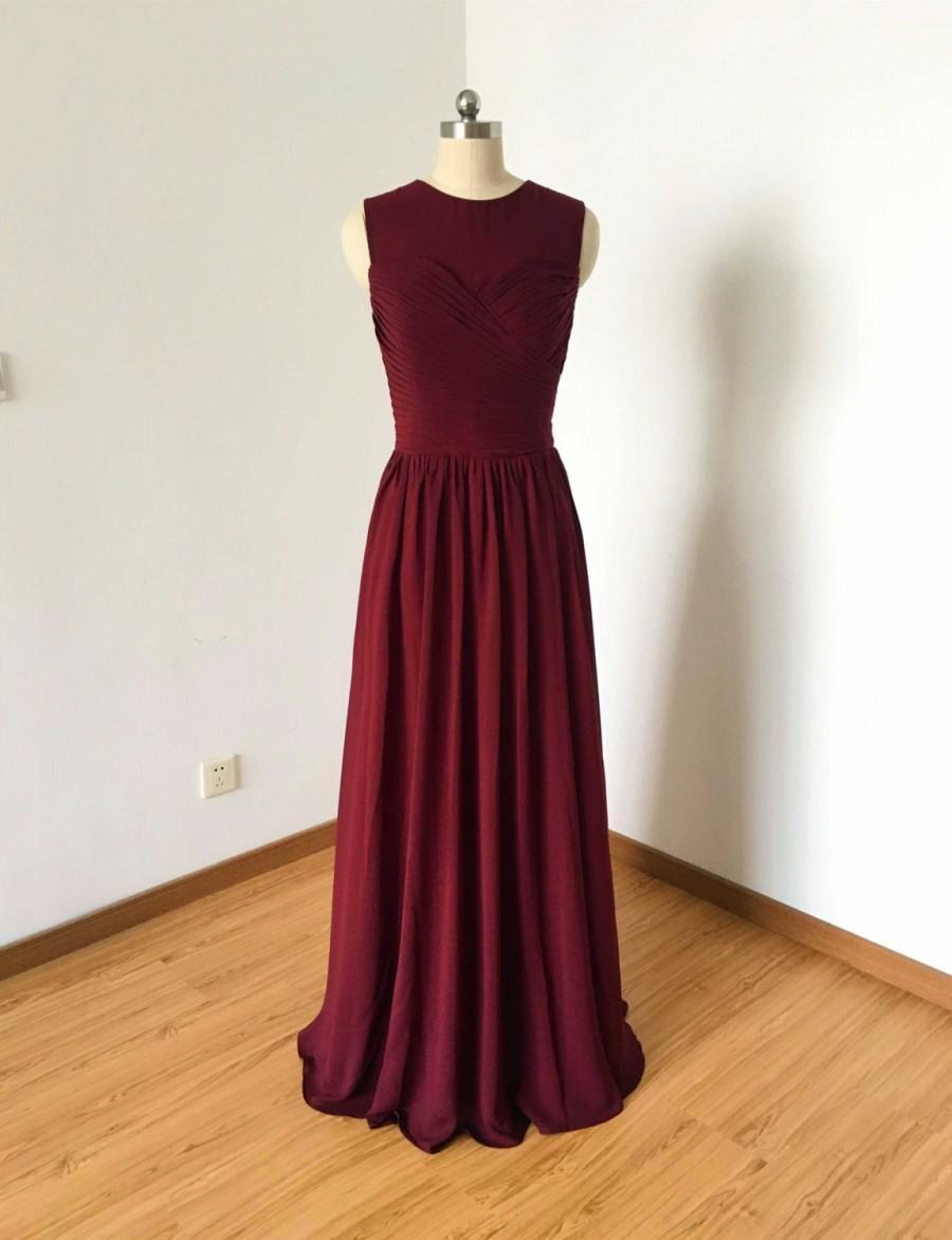 Mariage - Illusion Top Sweetheart Burgundy Chiffon Long Bridesmaid Dress