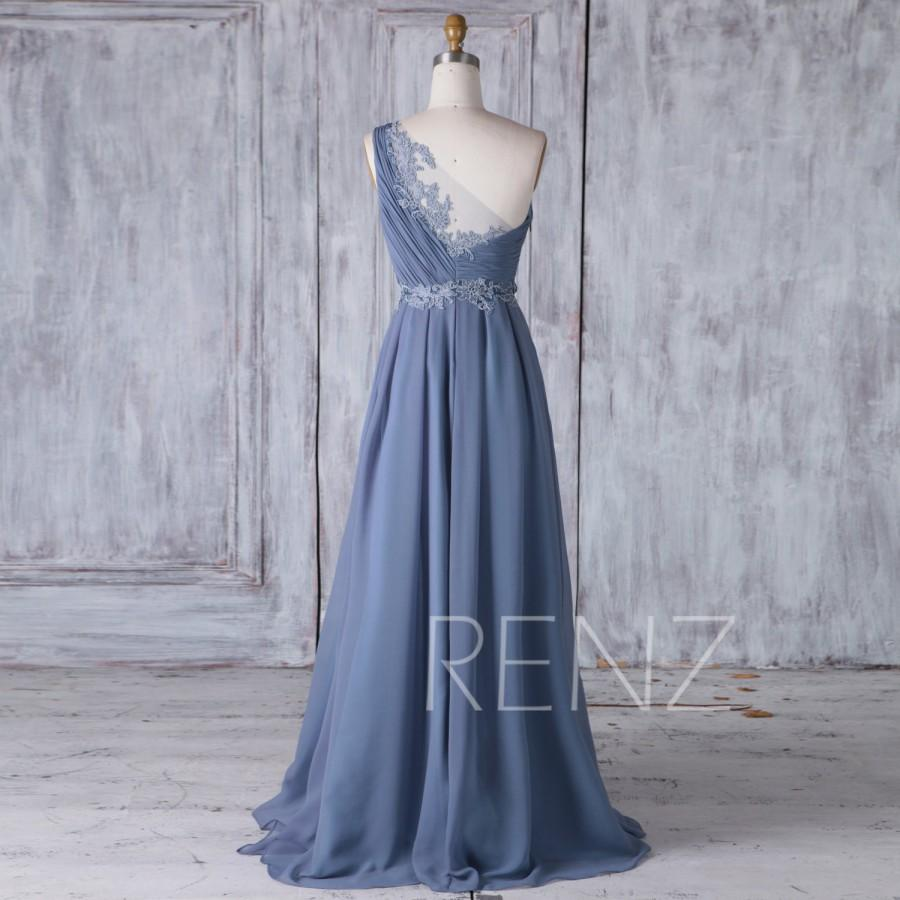 Hochzeit - 2017 Steel Blue Chiffon Bridesmaid Dress with Lace, One Shoulder Ruched Bodice Wedding Dress, A Line Ball Gown Full Length (H437)
