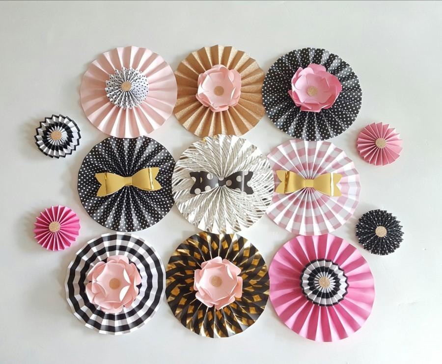 Mariage - Pink, Black and Gold Themed Paper Fans, Wedding Decoration, Bachelorette Party Decor, 15 PC, Kate Spade Inspired Paper Fans