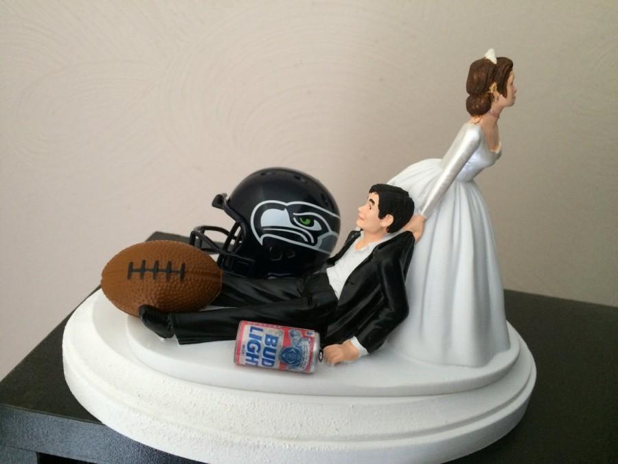 Seattle Seahawks Wedding Cake Topper Bridal Funny Football Team