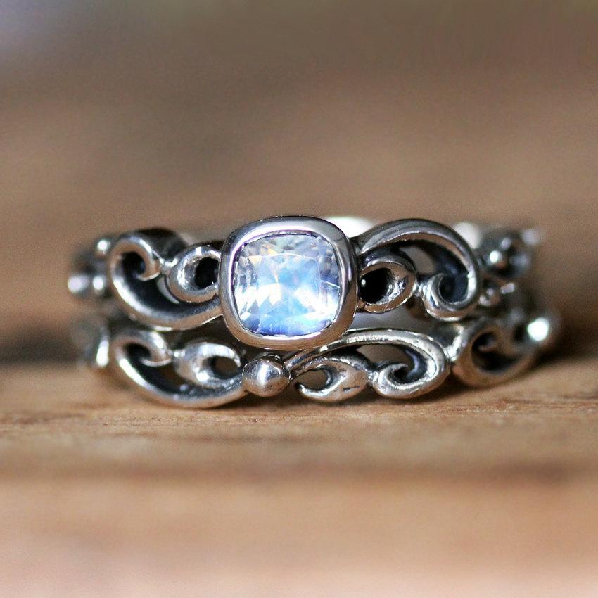 Wedding - Moonstone engagement ring set - rainbow moonstone ring - antique look wedding set - bezel engagement ring - silver rings - water swirl