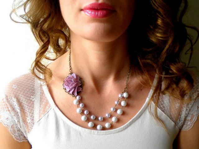 Свадьба - Purple Statement Necklace Gift For Girlfriend Pearl Bridesmaid Necklace Rose Bib Necklace Purple Flower Jewelry Bridal Shower Necklace