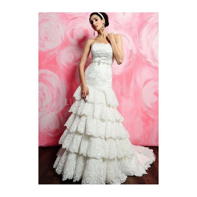 Mariage - Timeless Natural Waist Long Strapless Fit N Flare Chapel Train Wedding Gown - Compelling Wedding Dresses