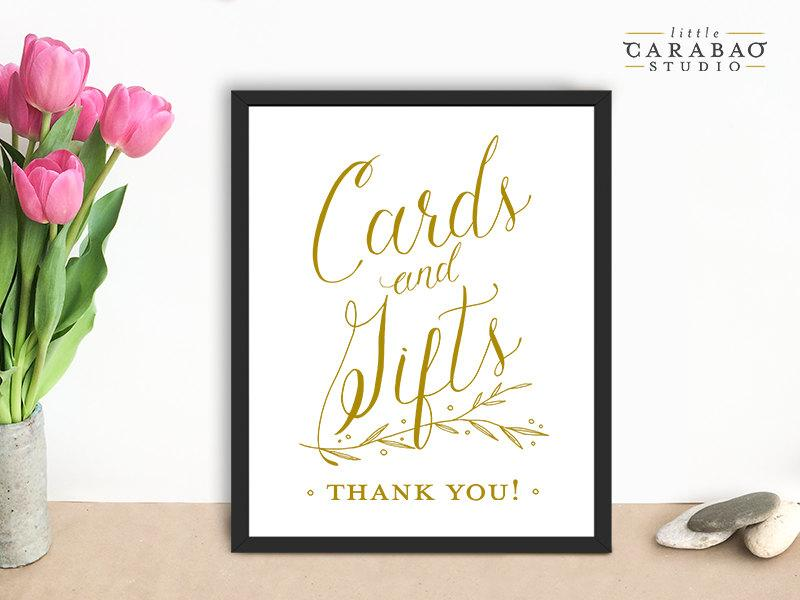 Свадьба - Wedding Sign Cards & Gifts Sign PRINTABLE Cards and Gifts Signage DIGITAL Wedding Sign - Little Carabao Studio - #PC111