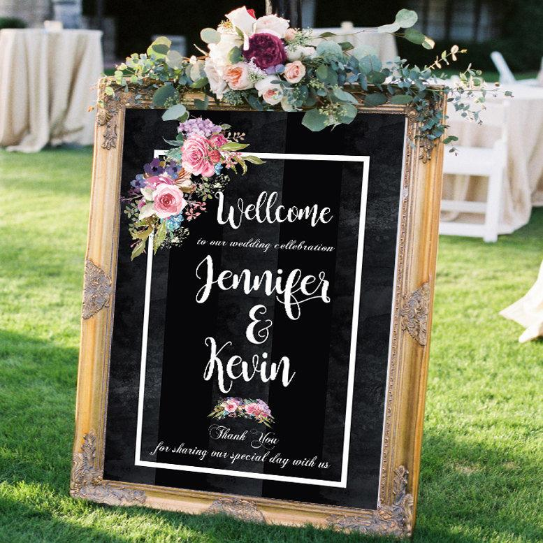 Hochzeit - wedding signs wedding welcome sign chalkboard flowers wall art print bohemian decor boho decor floral painting custom tapestry wall hanging