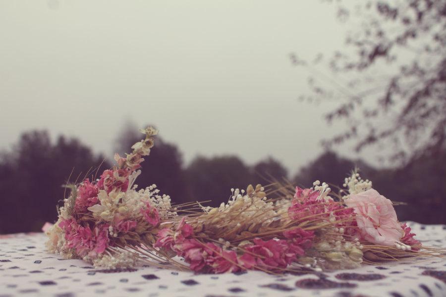 Wedding - custom bridal crown, dried pink flower crown, blush pink flower crown, wheat crown, babys breath crown, pink rose crown, boho bride crown