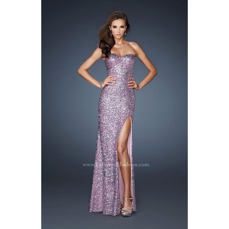 Wedding - Light Blue La Femme 18840 - High Slit Sequin Dress - Customize Your Prom Dress