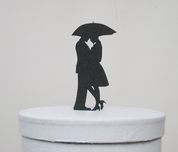 Mariage - Wedding Cake Topper - Secret Under an umbrella