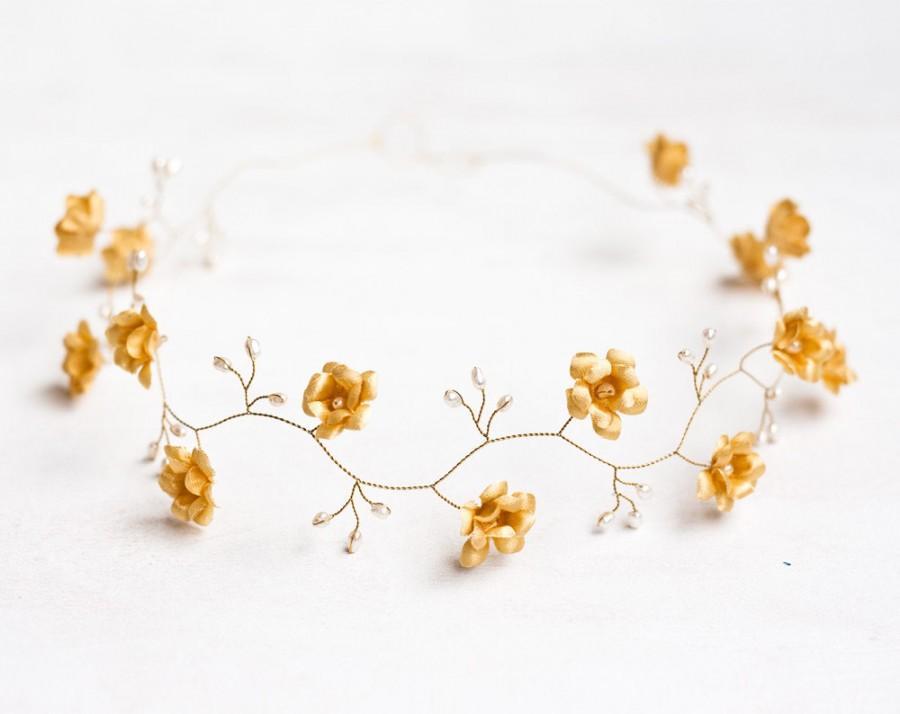 Hochzeit - 52_Gold headband, Wedding hair accessories, Circlet of flowers, Flower crown, Wedding tiara, Wedding diadem First Communion headband Circlet
