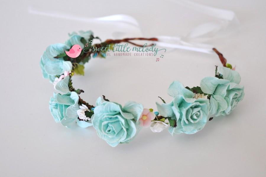Hochzeit - Frozen Flower Crown, Tiffany Blue Floral Crown, Bride Headband, Flower crown for Bridesmaid, Vintage Floral Wedding, Bridal Headband, Rustic