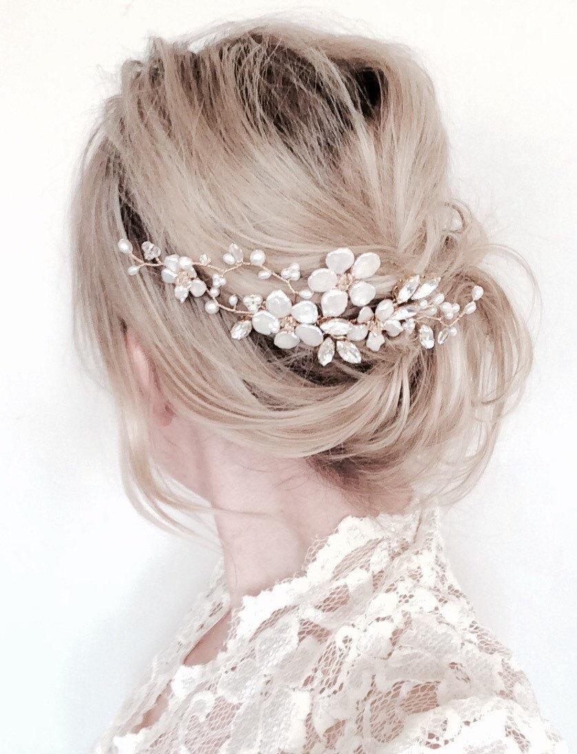 Hochzeit - Bridal hair comb, gold comb, floral hair comb, gold hair accessories, pearl hair vine, flower comb, wedding accessories