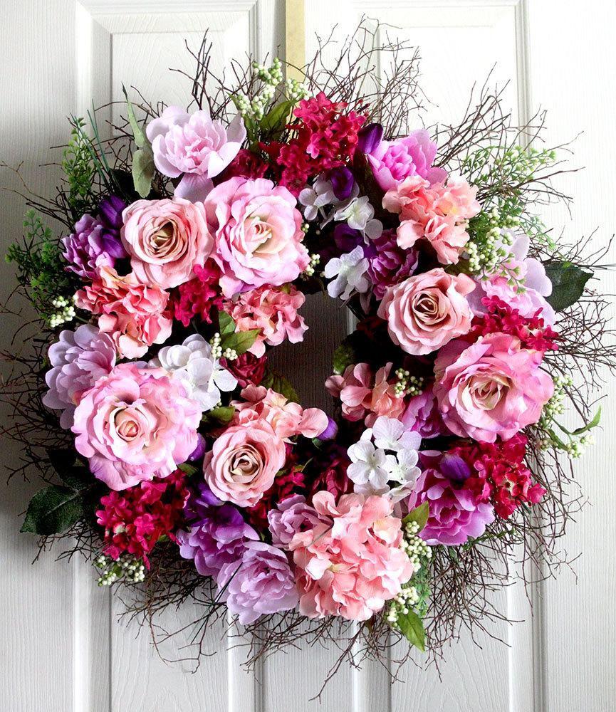 Extra Large Peony And Roses Spring Wreath For Front Door, Small ...