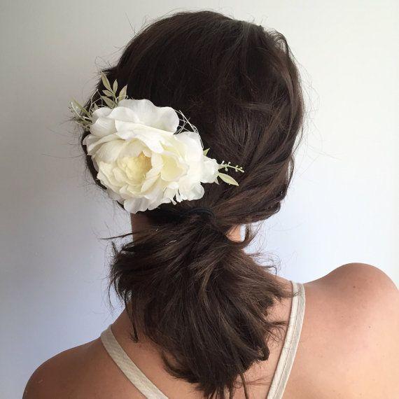 Свадьба - Ivory Bridal Hair Comb- Ivory Flower Comb- Floral Wedding Headpiece- Peony Floral Clip- Wedding Hair Comb- Bridal Headpiece-Flower Hair Comb