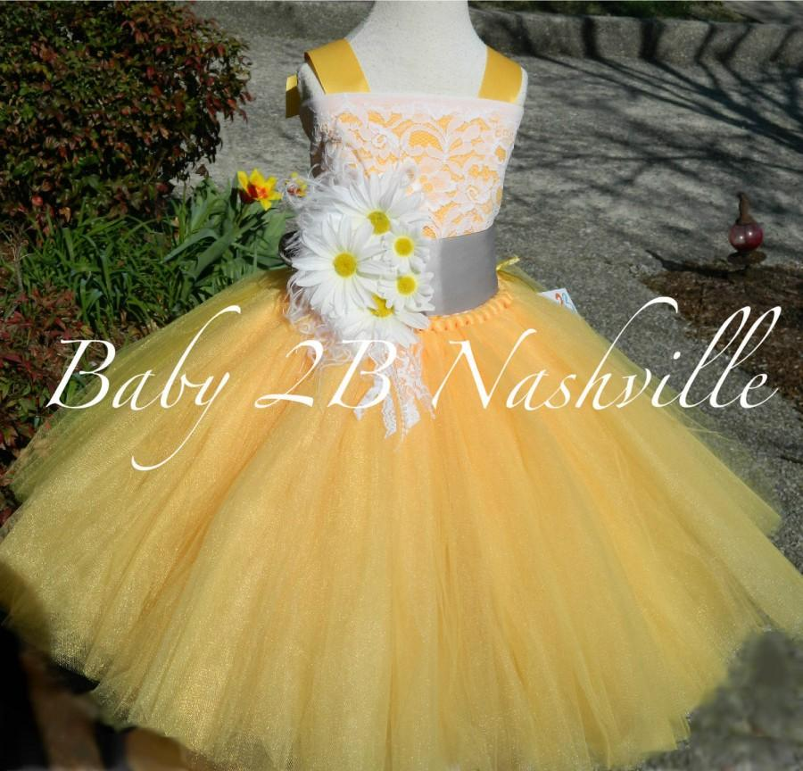 e19b92c703e5 Daisy Dress Yellow Dress Flower Girl Dress Lace Dress Tulle Dress ...