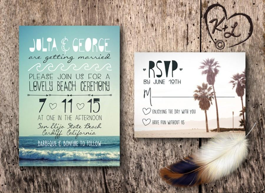 PRINTABLE Bohemian Beach Wedding Invitation Set Boho Chic