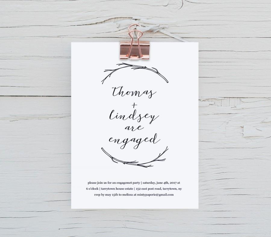 rustic engagement party invitation template diy printable