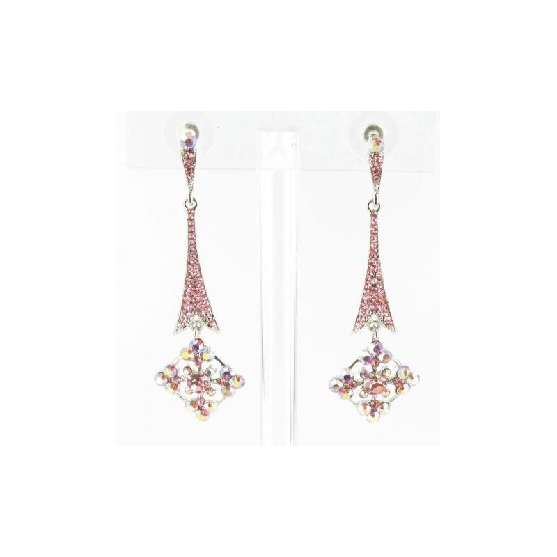 Wedding - Helens Heart Earrings JE-X002857-S-Pink Helen's Heart Earrings - Rich Your Wedding Day