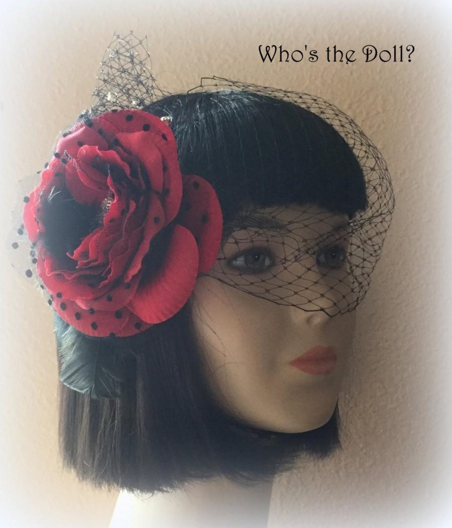Hochzeit - Birdcage Veil/1920s veil/Gatsby veil/Old Hollywood Glamour/Flower veil/1920s wedding/1920s party/Red and Black veil/Rosa