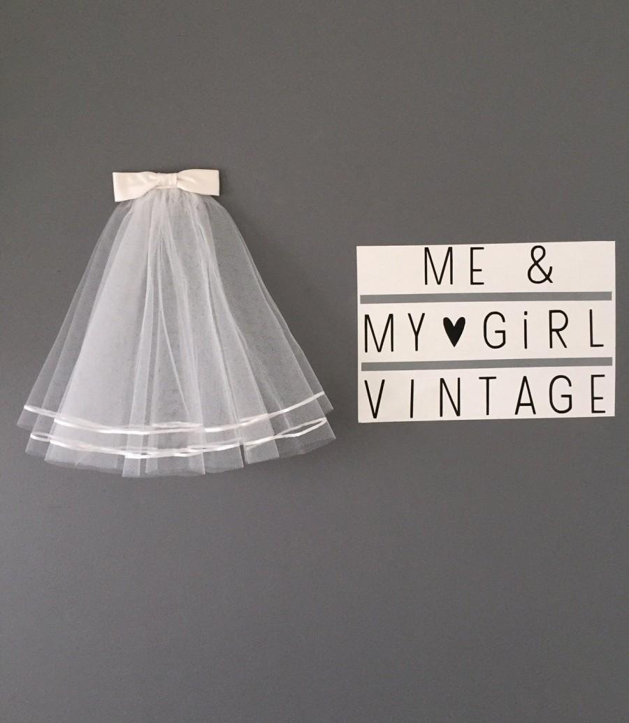 Wedding - Short 50's 60's ribbon veil/ Short veil/ 2 layer veil / Vintage style veil