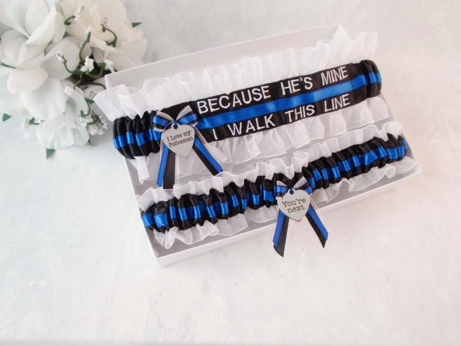 Hochzeit - He's Mine, I Walk the Line Garter Set - Police Wedding Garters  - Police Blue Line Bridal Garter Set - Something Blue Garters.