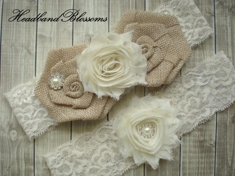 Düğün - IVORY Bridal Garter Set - Keepsake & Toss Garters - Burlap Chiffon Flower Pearl Lace Garters - Rustic Country Wedding - Cream Lace Garder