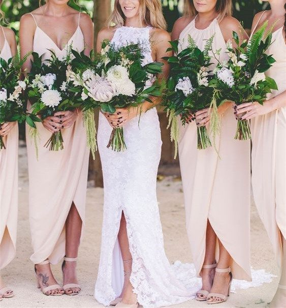 Düğün - 2016 Custom Long Chiffon Bridesmaid Dress,Sexy V-neck Spaghetti Bridesmaid Dress ,Champagne Backless Bridesmaid Dress From LovePromDresses