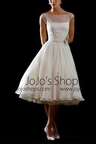 Wedding - Retro Modest 50s 60s Short Tea Length Wedding Dress