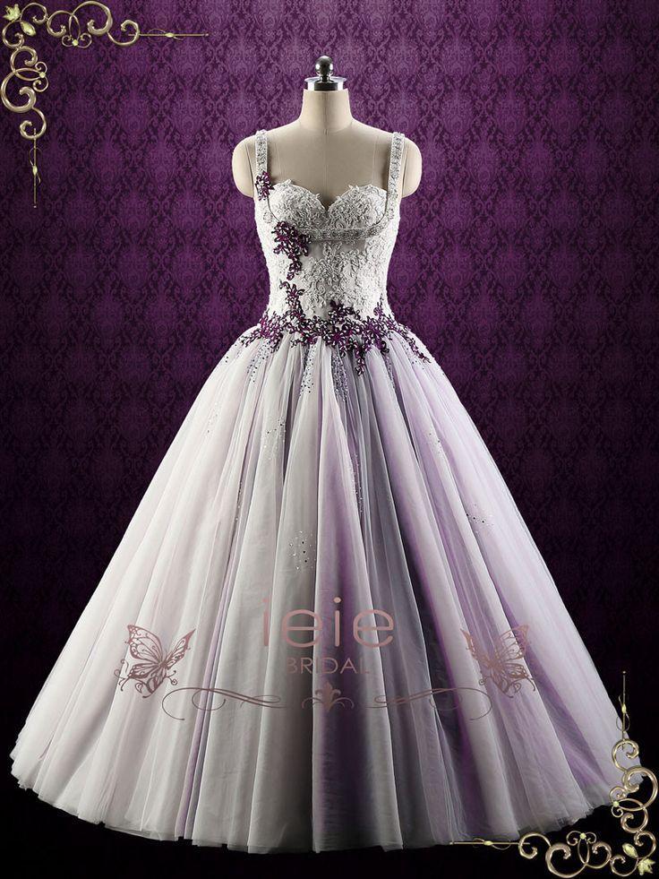 Свадьба - Purple Lace Ball Gown Style Wedding Dress