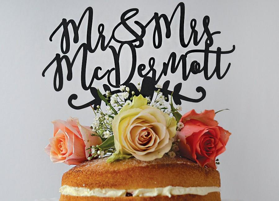 زفاف - Mr & Mrs Personalised Paper Wedding Cake Topper