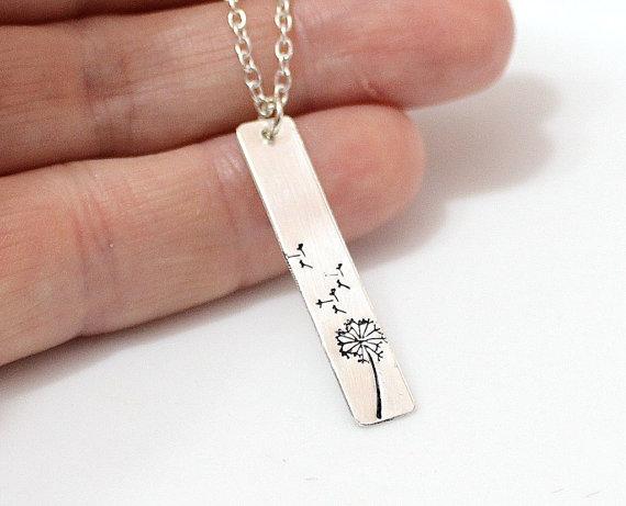 زفاف - Dandelion Bar Necklace, Dandelion Charm Necklace, Sterling Silver, Nature Jewelry, Best Friends Necklace, Hand Stamped Dandelion