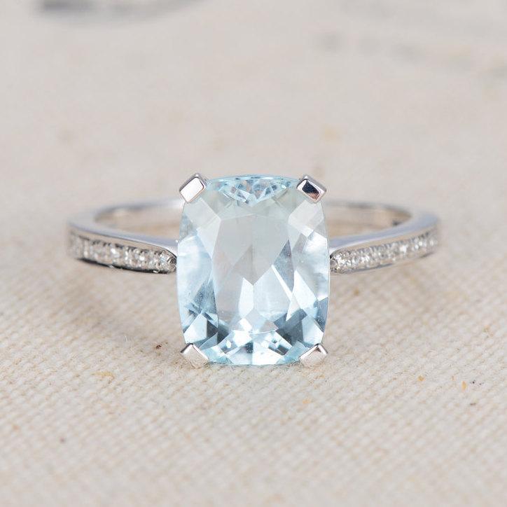 Aquamarine Ring Cushion Cut Aquamarine Engagement Ring White Gold
