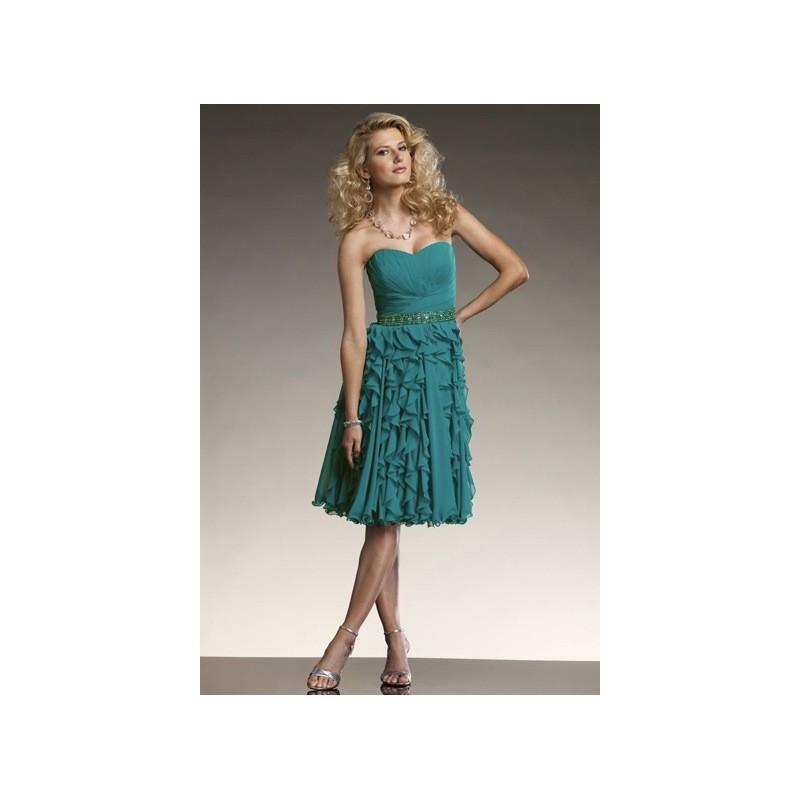 زفاف - Mon Cheri Social Occasions Strapless Ruffle Chiffon Short Dress 111812 - Brand Prom Dresses