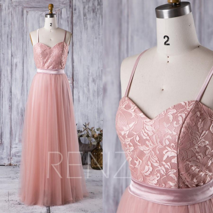 Mariage - 2017 Blush Mesh Bridesmaid Dress, Sweetheart Lace Wedding Dress, Spaghetti Straps Prom Dress, A Line Evening Gown Floor Length (XS012)