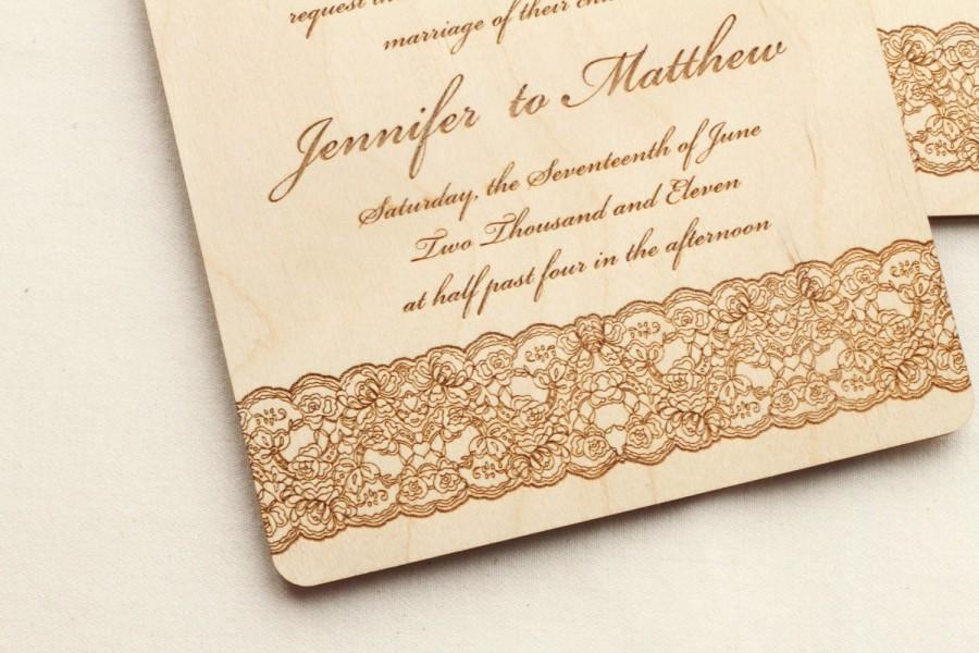 Mariage - Leather and Lace Wooden Wedding Invitation