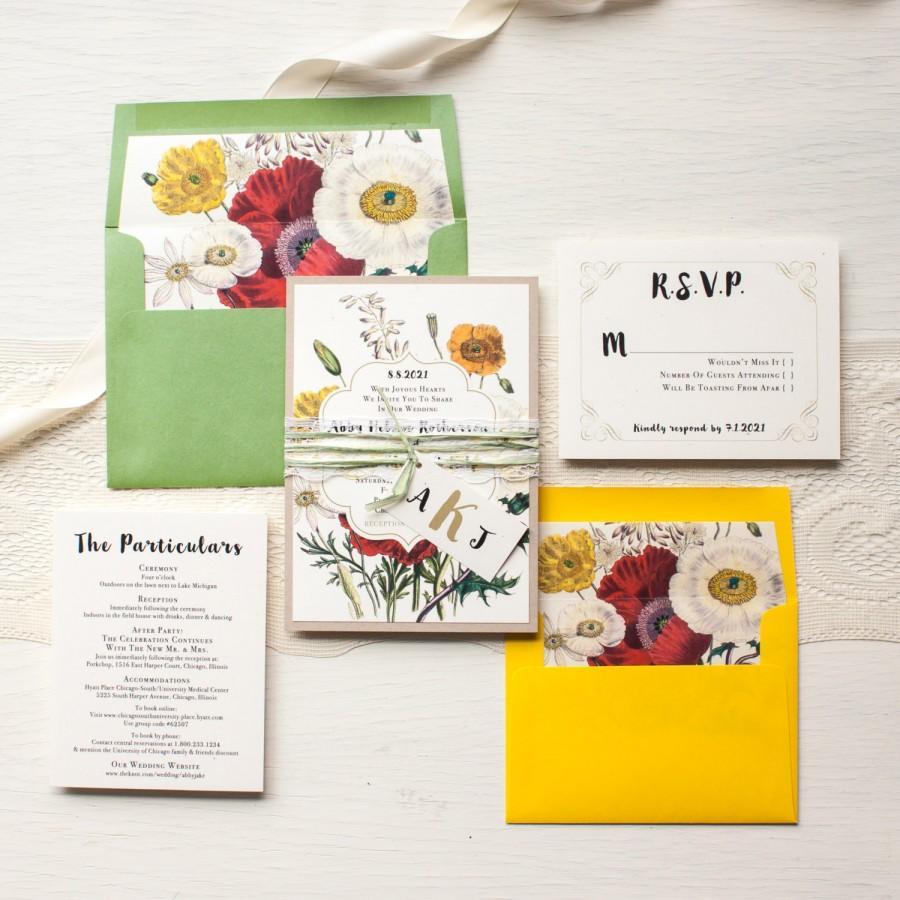 Boho Wedding Invitations Garden Inspired Green Yellow Lace Raffia Tie Bohemian Bride Floral Envelope Liners