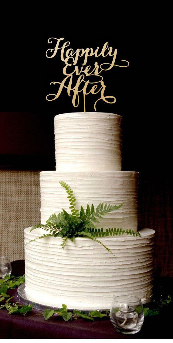 Mariage - Wedding Cake Topper Happily Ever After . Gold Cake Topper.
