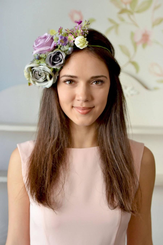 Wedding - Gray purple floral crown Boho head wreath grey Roses wedding halo Flower crown large bridal flower crown Spring wedding Lilac Wedding - $57.00 USD