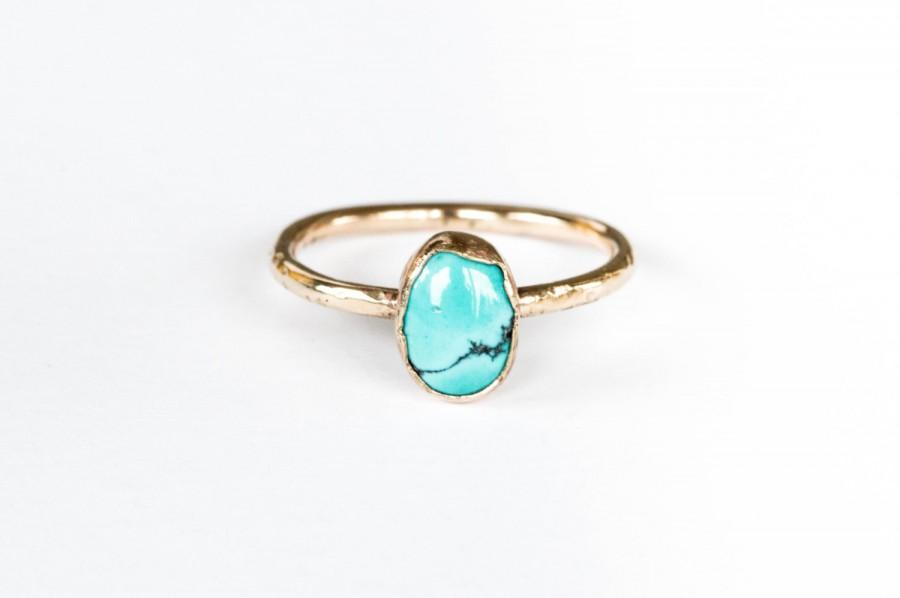 Mariage - 14k gold rustic turquoise engagement ring, gold turquoise ring, rustic engagement ring
