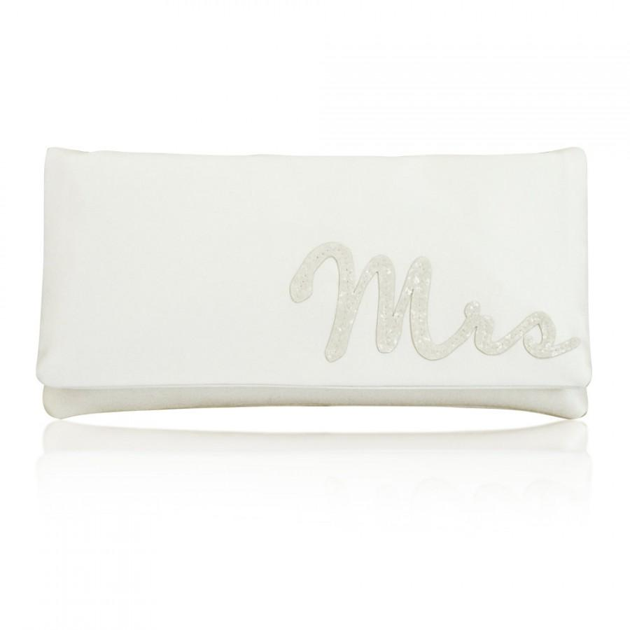 Hochzeit - MRS wedding day bridal clutch purse