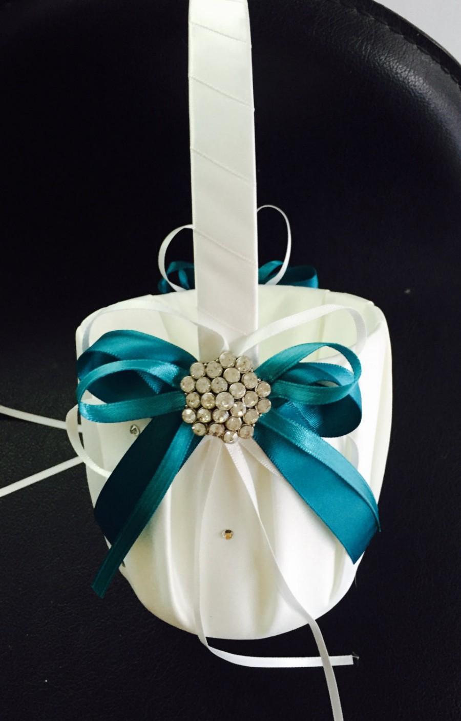 زفاف - FLOWER GIRL BASKET Teal
