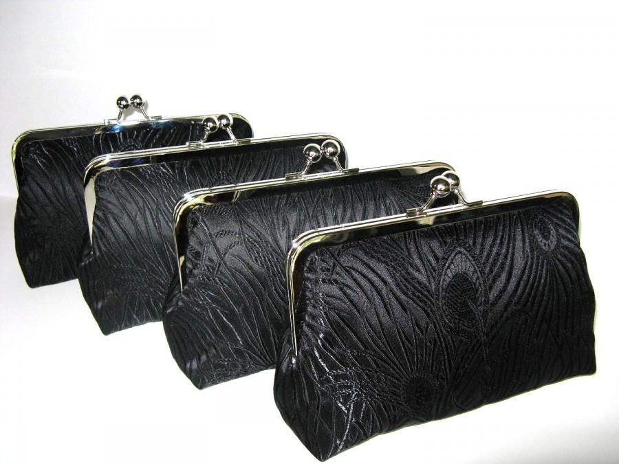 Wedding - SALE 15% Off Peacock Clutches Set Of 4,Black Brocade Peacock Clutches,Bridesmaid Clutches,Bridal Accessories