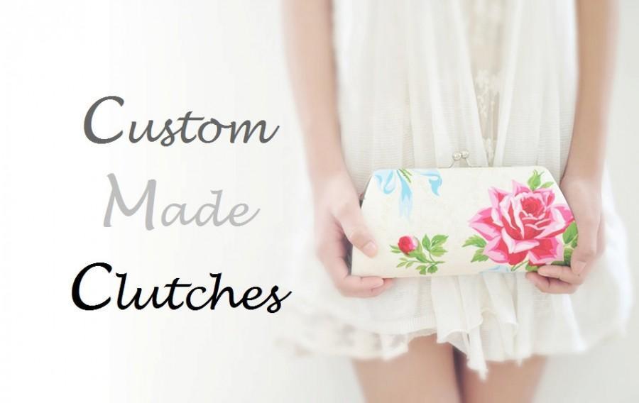 زفاف - CUSTOM MADE cotton clutch - Create a Custom Bridesmaid Clutch in your choice of fabric