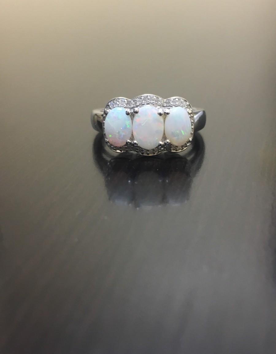 Halo Diamond Opal Engagement Ring  Halo Opal Diamond Wedding Ring  Diamond  Opal Ring  Opal Diamond Ring  Halo Opal Ring  Diamond Ring