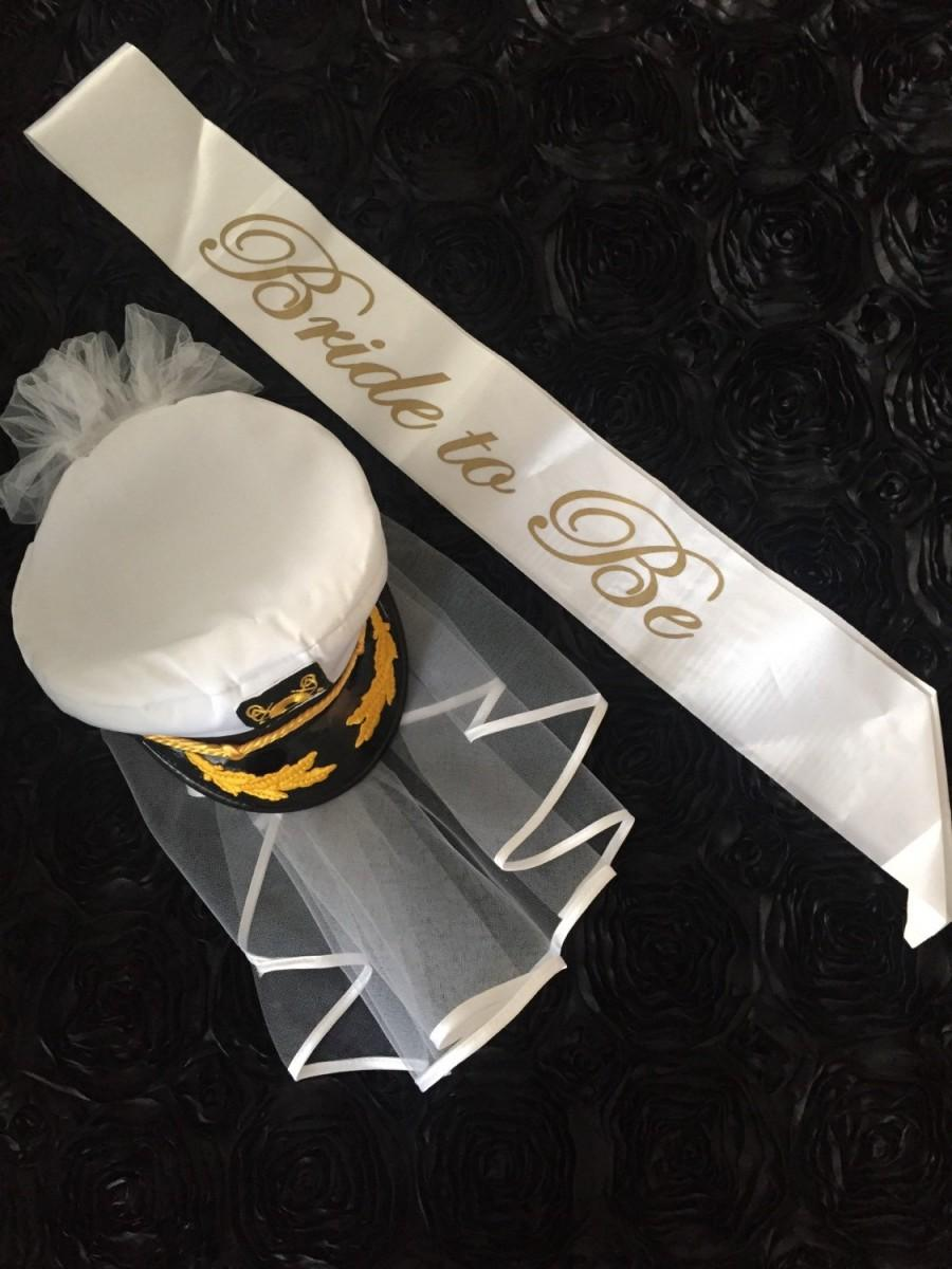 زفاف - Nautical Bride Bachelorette Party Captain Hat Last Sail Before The Veil Black White Bridal Sailor Wedding Veil Anchor Cruise Pool Cap & Sash