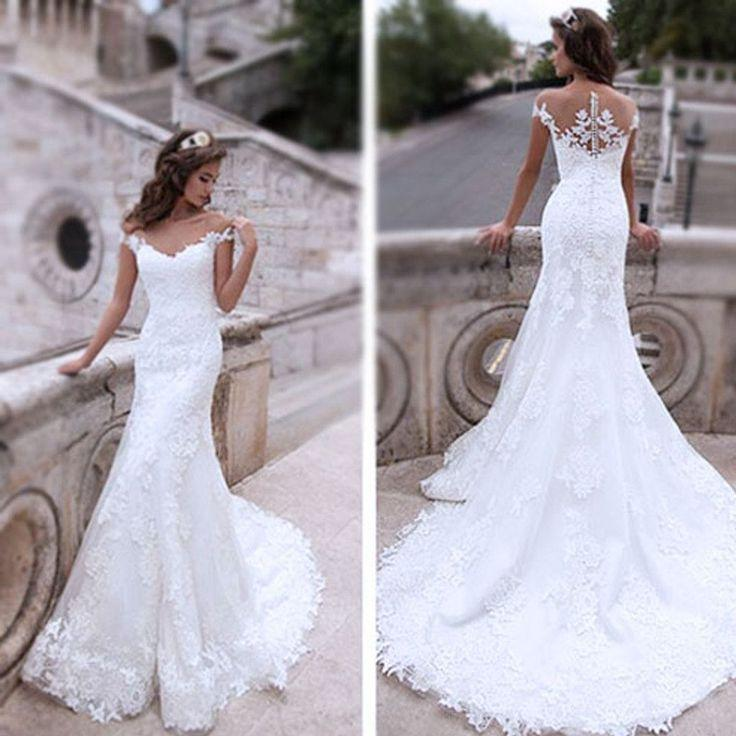 Mariage - Charming Off Shoulder Sexy Mermaid White Lace Bridal Gown, Wedding Dresses, WD0058