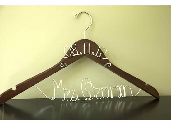 Hochzeit - WINTER SALE 15% Off -- Personalized Bridal Hanger WITH Wedding Date