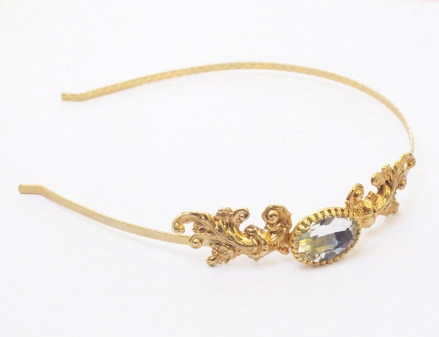 زفاف - Gold bridal headband crystal jewel antique style ornate French rococo wedding hair accessory golden headpiece emg